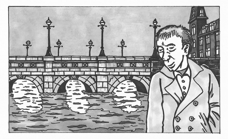 Dusk at Dronning Louises Bro (Bridge of Queen Louise) - Morten Bjerg - Pen and marker on paper, 2015