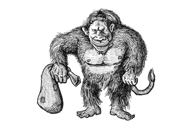 Troll with bag of sand - Pen on Paper by Morten Bjerg - Oct 2016