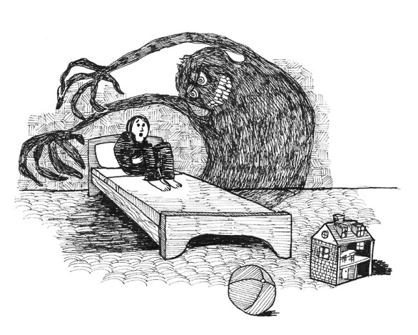 The Monster Under The Bed by Morten Bjerg - Pen on paper, dec 2016
